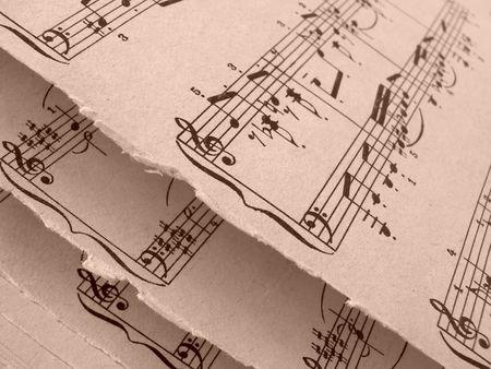 musicality: seppia tonica aperti vecchi fogli del frammento di note musicali