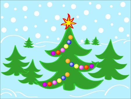 christmastide: Christmas background with decorated fir tree Illustration