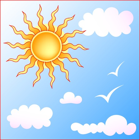 bright symbolic sun and cloudy sky with seagulls Vector