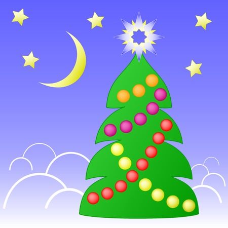 christmastide: Christmas decorated fir tree against starry sky