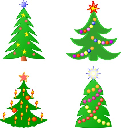 seasonal symbol: Christmas trees collection Illustration