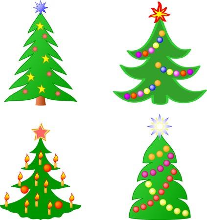 arbre     ? � feuillage persistant: Collection des arbres de No�l  Illustration