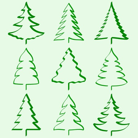 decorated: Christmas trees collection Illustration