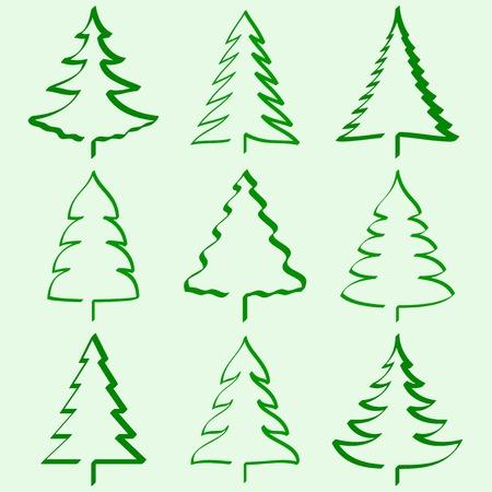 christmas template: Raccolta di alberi di Natale Vettoriali