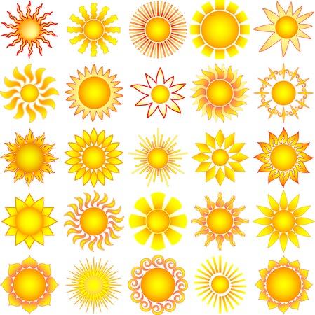 rayos de sol: colección de sol de vector simbólico