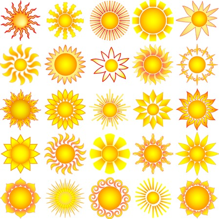 summery: symbolic vector sun collection
