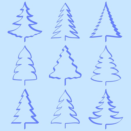 Christmas trees collection Stock Vector - 8331749