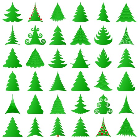 Christmas trees collection Stock Vector - 8489843