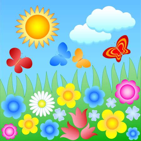 flowering meadow with butterflies Vector