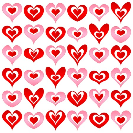 hearts set for wedding and valentine design Stock Vector - 8653538