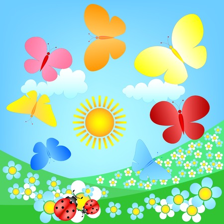 butterflies roundelay over spring flowering meadow Vector