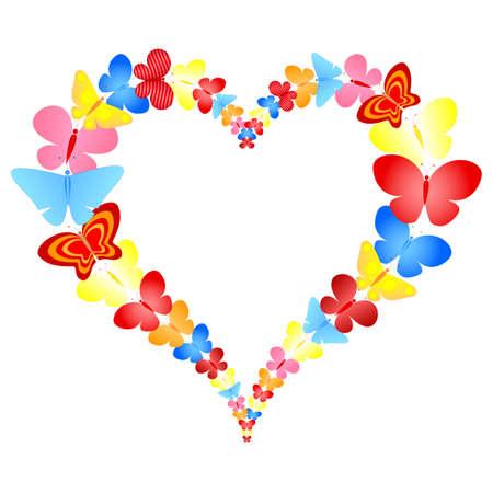 valentine butterflies heart frame Stock Vector - 8705012