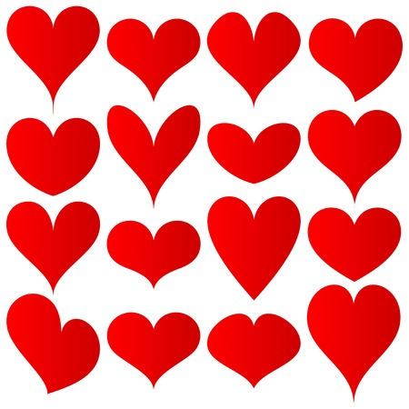 red hearts set for wedding and valentine design Vector