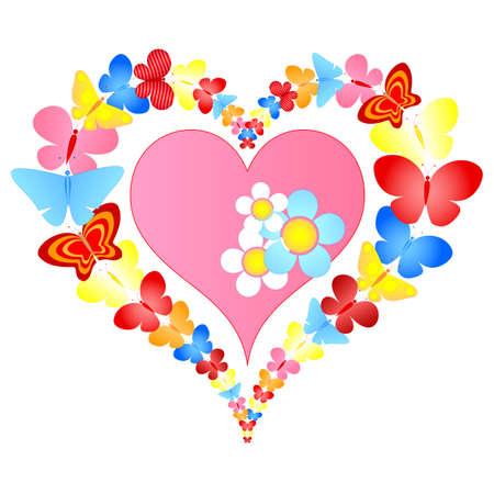 heart flower: valentine butterflies heart Illustration