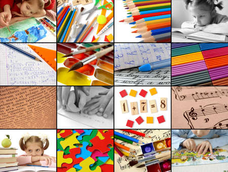 schoolkid: back to school concept collage Stock Photo