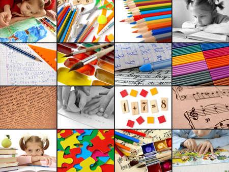 lectura y escritura: de regreso a la escuela collage concepto