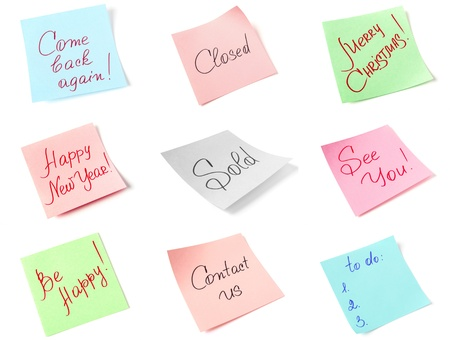 colorful stickers collection with handwritten messages photo