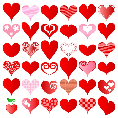 hearts set for wedding and valentine design Vector