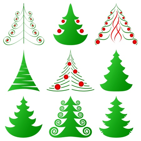 symbolic Christmas trees and decorated ones Stock Vector - 11666122