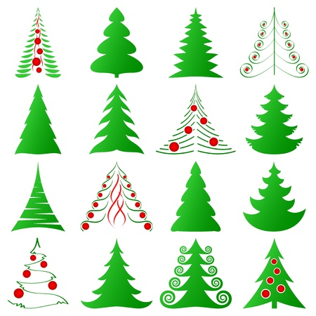 evergreen tree: Christmas trees collection Illustration