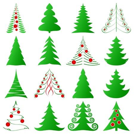 fir tree balls: Christmas trees collection Illustration