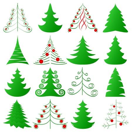fir tree balls: Christmas trees set