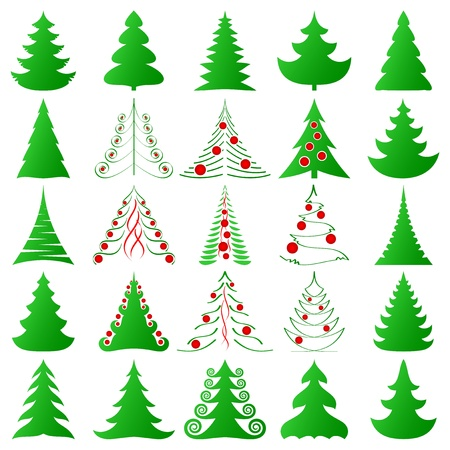 symbolic: symbolic Christmas trees and decorated ones