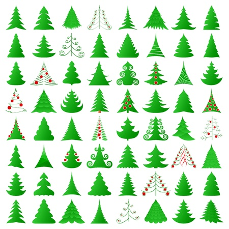 fir tree balls: elegant Christmas trees collection Illustration
