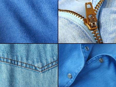 blue denim clothes fragments set                                photo