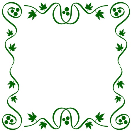 abstract ornamental stylized vine frame with leaves and clusters Stock Vector - 17375804
