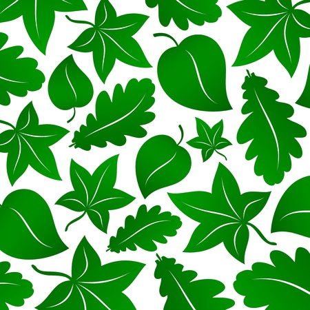linden: seamless stylized green leaves background