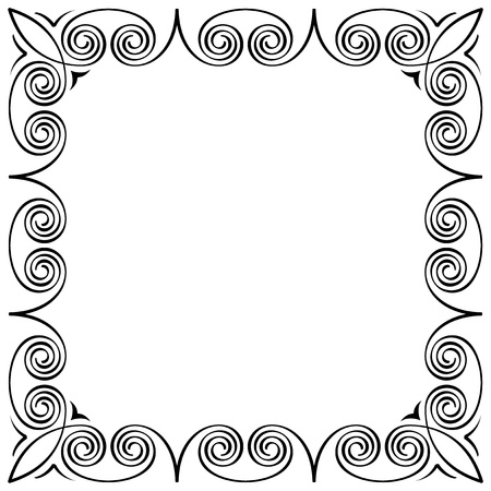 meander: abstract calligraphic frame black on white