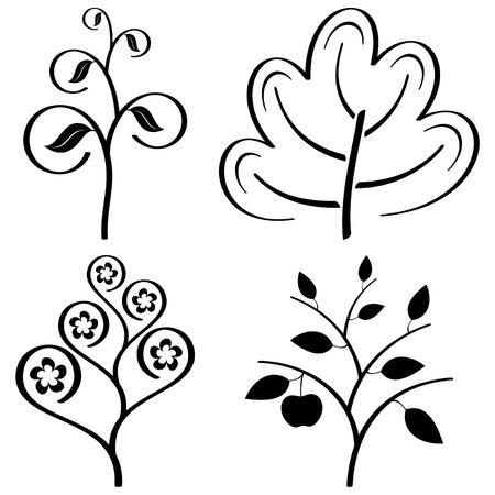 linden tree: stylized trees set black on white