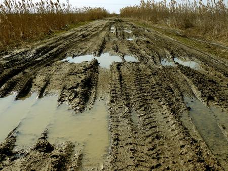 huellas de neumaticos: camino rural sucio, con huellas de neum�ticos profundas