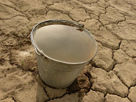 seau d eau: seau plein d'eau sur fond de sol sec