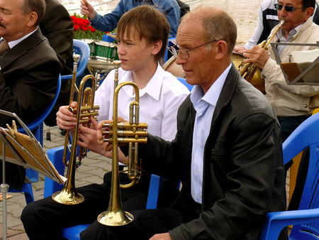 BUDYONNOVSK, STAVROPOL REGION, RUSSIA - MAY 1, 2014  trumpeters from municipal brass band on the Labor Day celebration, on 1st of May 2014, in Budyonnovsk, Russia