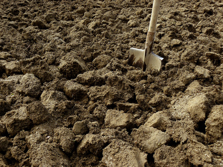 plough land: shovel in the ploughed ground