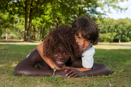 dat: Happy african children having a nice dat at the park