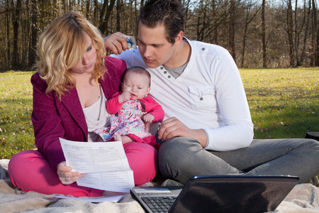 family budget: Young family is having some financial issues to paying the invoices