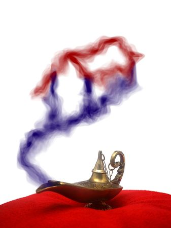 red oil lamp: A magical genie lamp with smoke on a red velvet pillow with a home smoke. This can be used for a demonstration of wish for a home.