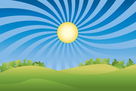 A green summer field and groovy sky. Vector