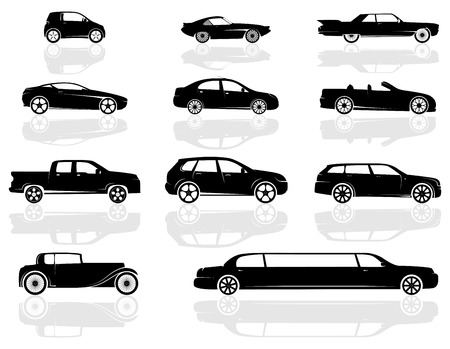 A set of various cars, from compact to stretch limousine, and even an old style car.
