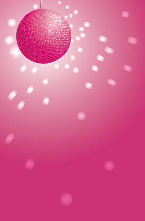 A pink disco ball with reflections and gradient background. Editable vector illustration. Vector