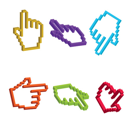 3D mouse cursor hand in various angles and colors. Editable vector illustration. Vector