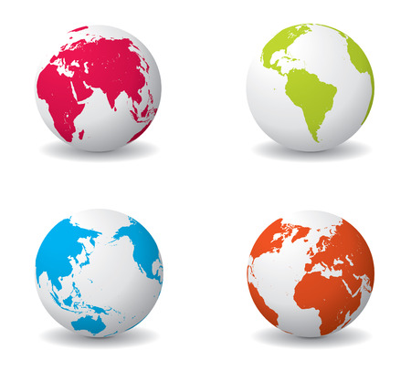 Four colorful globes isolated on a white background with shadow. Editable vector illustration.