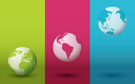 Three colorful globes with gradient backgrounds and shadows. Editable vector illustration. Illustration