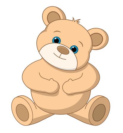 A cute teddy bear on white. Editable illustration. Vector