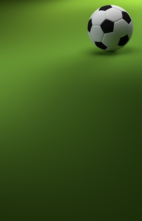 cgi: A CGI image of a soccer ball on a green background, like a football pitch, with plenty of copyspace.