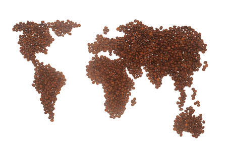 coffee grains: A world map made from roasted coffee grains, isolated on a white background. Stock Photo