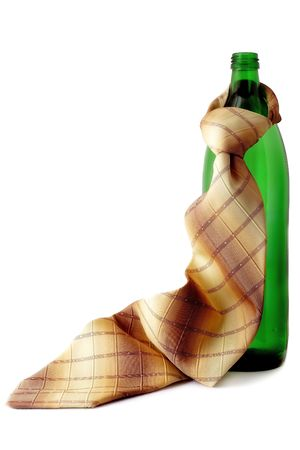 formality: Green bottle with a tie Stock Photo